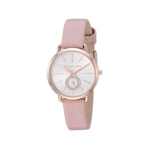 100-New-Michael-Kors-MK2735-Portia-White-Dial-Rose-Gold-Leather-Women-039-s-Watch