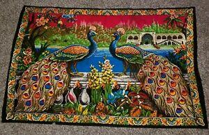 Vintage-Peacock-Tapestry-Wall-Hanging-Vivid-color-38-034-x-58-034-bobo-gypsy-hippie