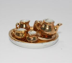 altes-Tee-Set-Porzellan-fuer-Puppenstube-Gold-dekor-G977