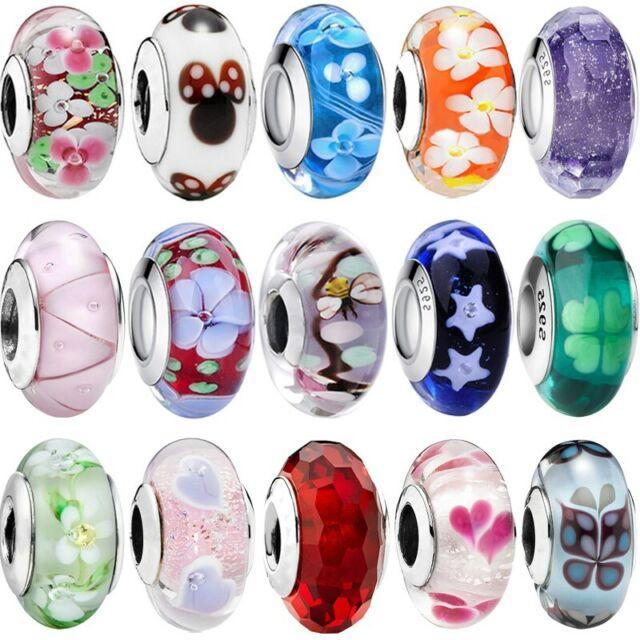 Pink Clover Flower Pattern Murano Glass Bead for Silver European Charm Bracelets