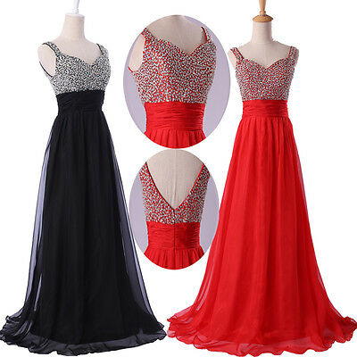 2015 Long Beaded Prom Bridesmaid Wedding Ballgown Party Evening Graduation Dress