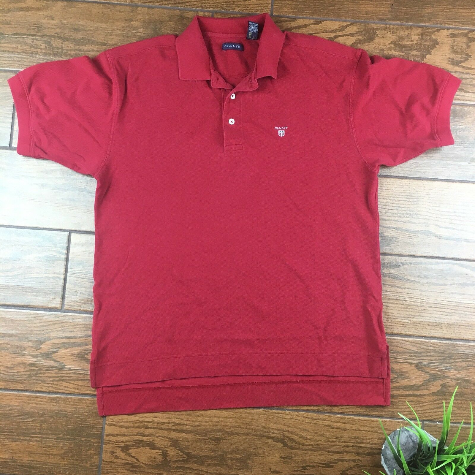 Gant MENS LARGE Red Polo Shirt Cotton Collared