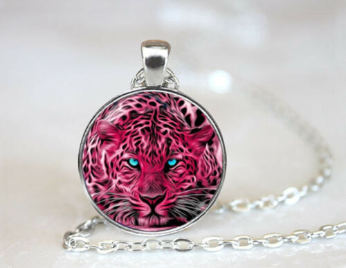 Vintage Leopard Pink Dome Tibetan silver Glass Chain Pendant Necklace