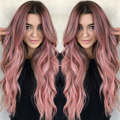 Fashion Women Long Brown Wig Black Pink Ombre Wavy Hair Rose Net Hairstyle  US