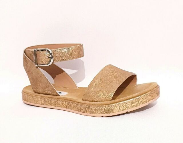 CLARKS ROMANTIC MOON RRP £50 GOLD SHIMMER GENUINE LEATHER SANDALS STRAPPY WOMENS