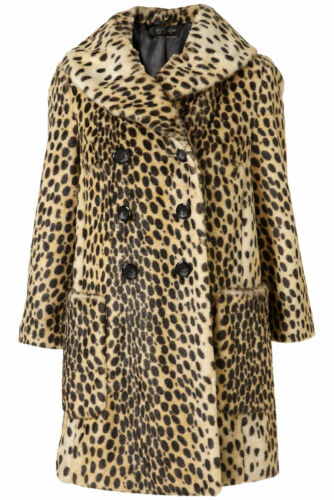 Topshop Vintage New 10 Gorgeous Fur Coat Multi Faux Uk In Leopard UwqS5aqg