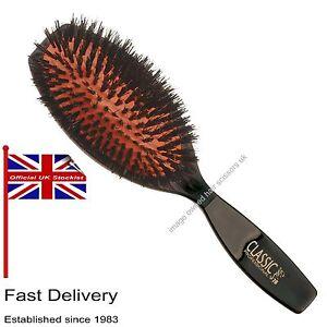 PURE-BOAR-amp-Nylon-Bristles-CUSHION-Hair-Brush-Flat-Style-Hairdressing-CLASSIC-76