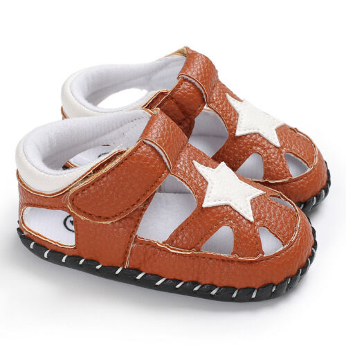 New Arrival Infant Baby Boy Star Pram Shoes Toddler Anti-Slip PreWalking Sandals