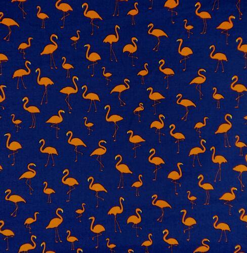 Flamingo Navy 100/% Cotton Poplin novelty bunting quilting dress Craft Fabric