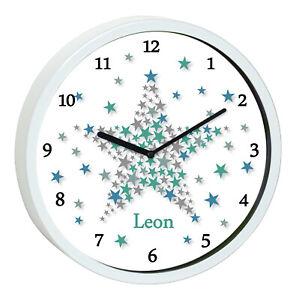 Details zu Wanduhr Kinder Sterne Kinderzimmer Uhr weiß Wunsch Name kein  Ticken Stern