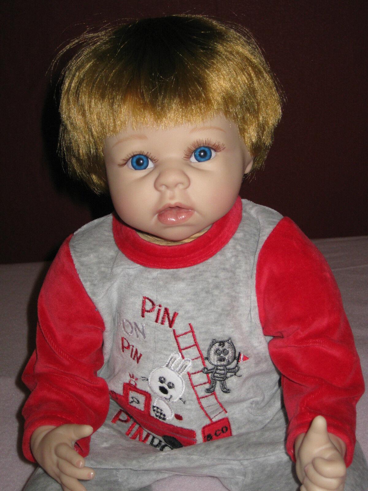 Reborn muñeca, bebé, 54cm, ojos azules, cabello rubio, muñeca de coleccionista, nuevo