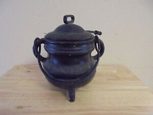 Antique Fire Starter Smudge Pot Caulderon with Wand