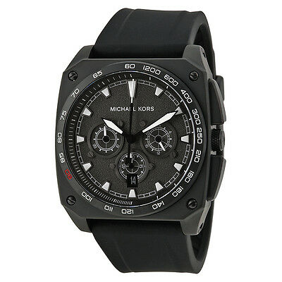 Michael Kors Grandstand Chronograph Black Sandblasted Dial Black Silicone Mens