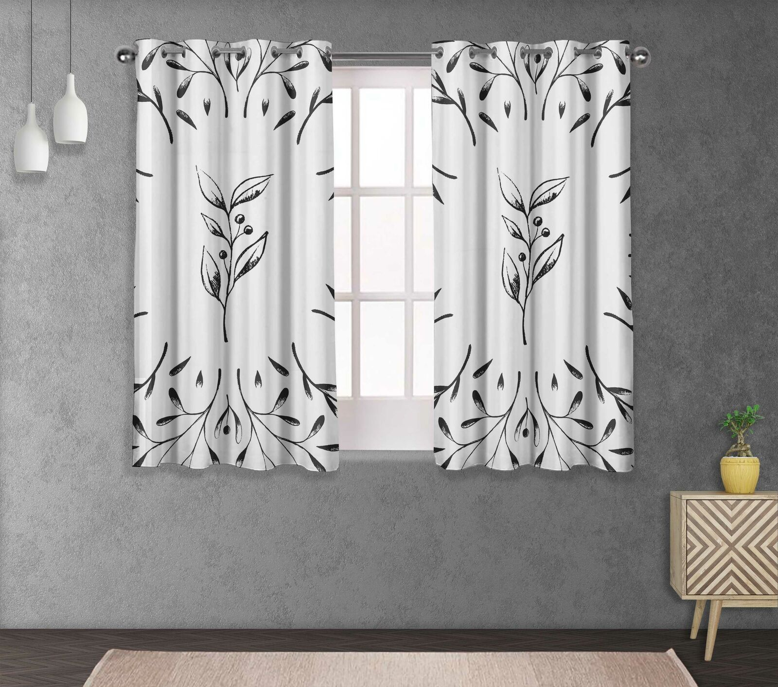 S4sassy European Ash Seeds Home Decor short & long Curtain Eyelet Panel-LF-516N