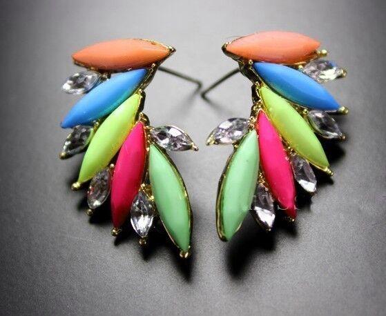 Hot Fashion Jewelry Colorful Resin Drop Crystal Leaf Wings Ear Stud Earrings