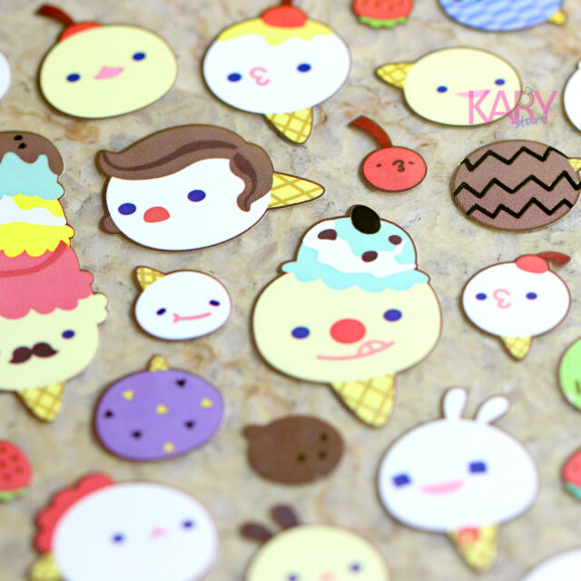 Cute Ice Cream Phone Computer Scrapbooking Colorful Shiny Paper Stickers ZPZ007