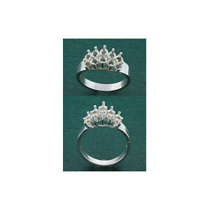 (10 - 3mm) Round Step Cluster Sterling .925 Ring Setting (Ring Size 7 )