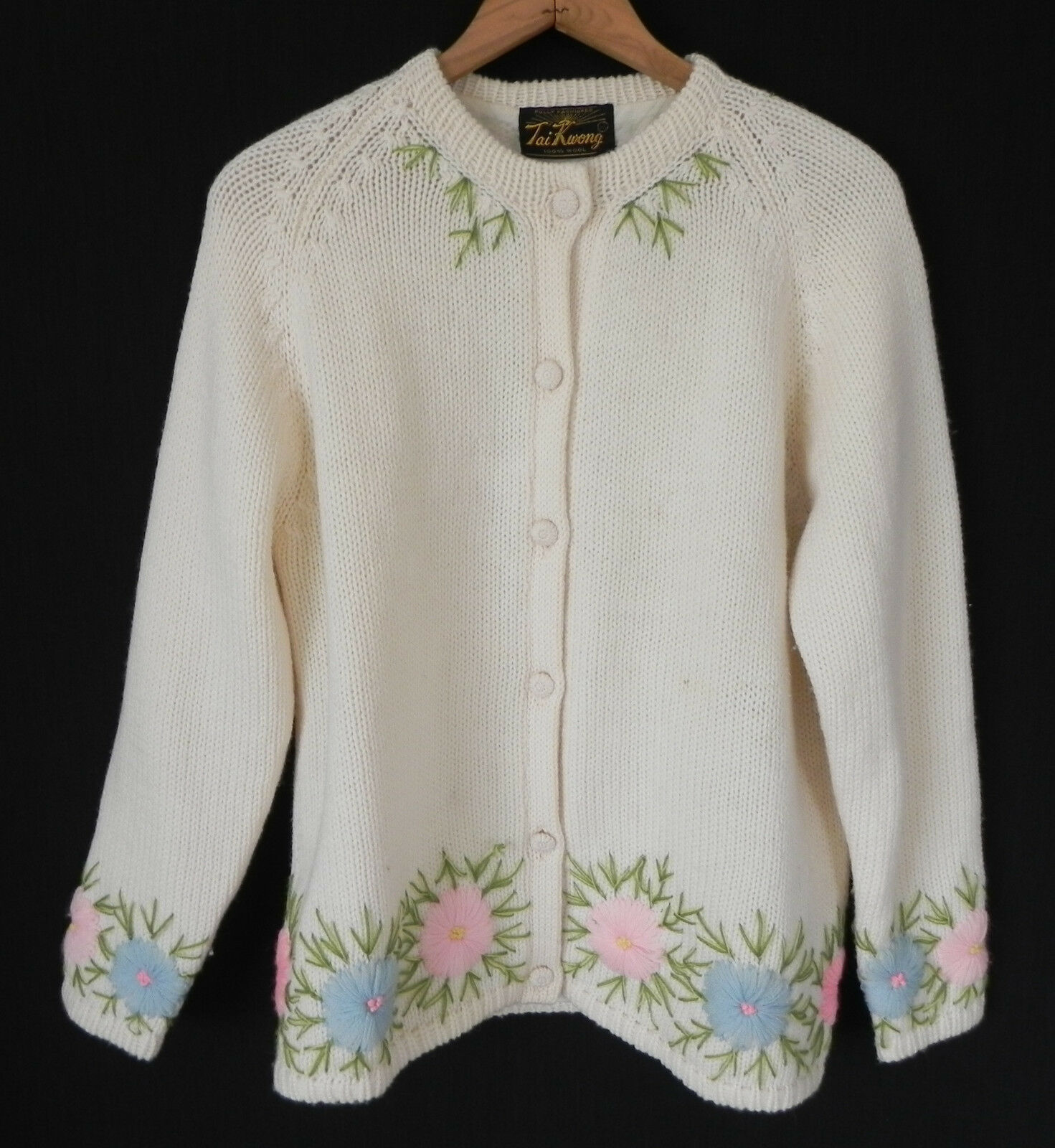 Vtg Tai Kwang 100% Wool  Sweater  Ivory & Multi-color Embroidery Size L XL