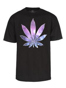 Mens-Galaxy-Marijuana-Leaf-Short-Sleeve-Black-T-Shirt