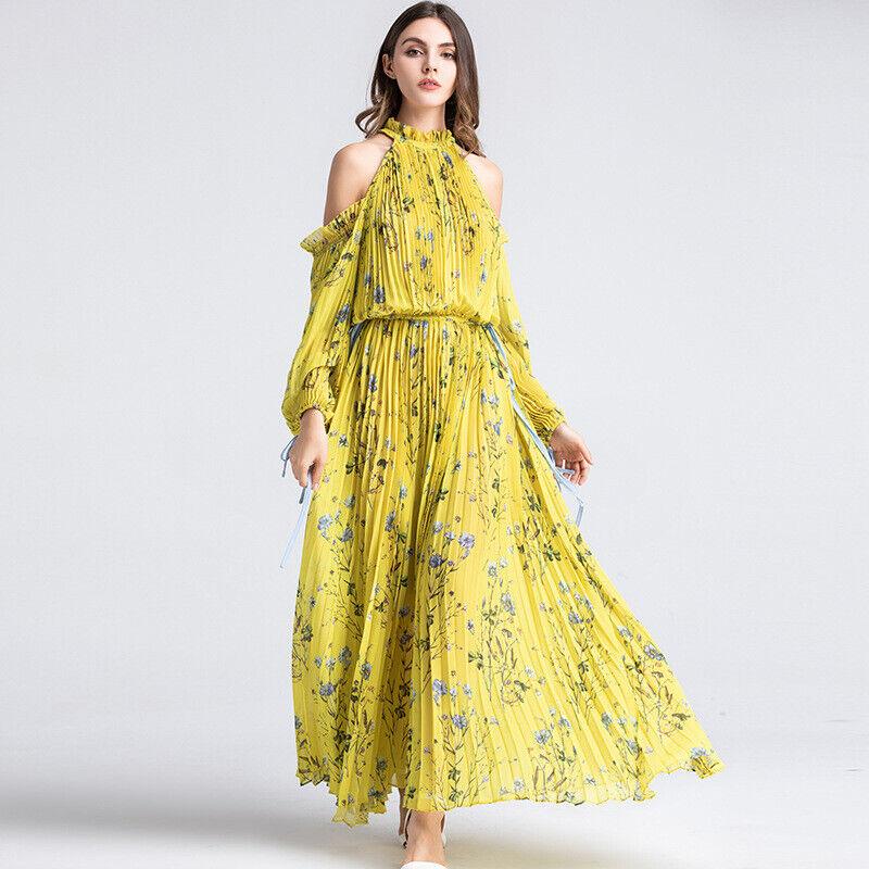 Femme A-line Robe Élégant Floral Imprimé Plissé Froid Épaule À Manches Longues