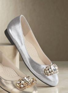5e581f2b1065 Image is loading Elke-Ballerina-by-Andiamo-Ballet-Flats-Shoes-Silver-