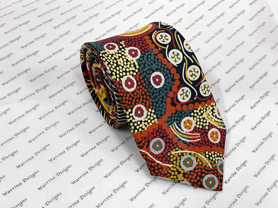 Warrina Designs 100/% Silk Tie Authentic Aboriginal Design Art Gathering by River