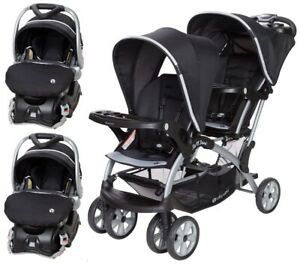 Twins Walk Out Combo Set Double Stroller 2 Infant Car