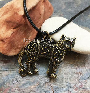 Vintage-Bronze-Plt-Celtic-Knotwork-Cat-Pendant-Necklace-Viking-Norse-Slavic