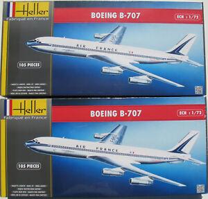 2x-Heller-80452-BOEING-B-707-Air-France-1-72-Flugzeug-Modellbausatz-Kit