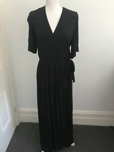 amp-Other-Stories-Women-039-s-Black-Wrap-Maxi-Dress-BRAND-NEW-Size-12