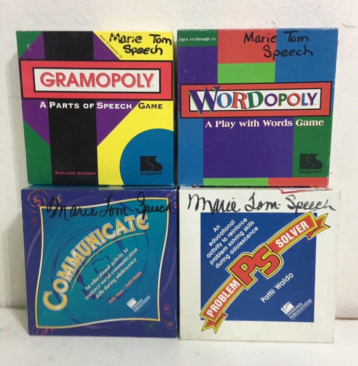 Lote de 4 Vintage idioma, resolución de problemas y juegos de habilidades de comunicación