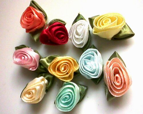 Mixed colours RIBBON ROSES x 10  Satin Large Craft Wedding Baby Bunting Sew