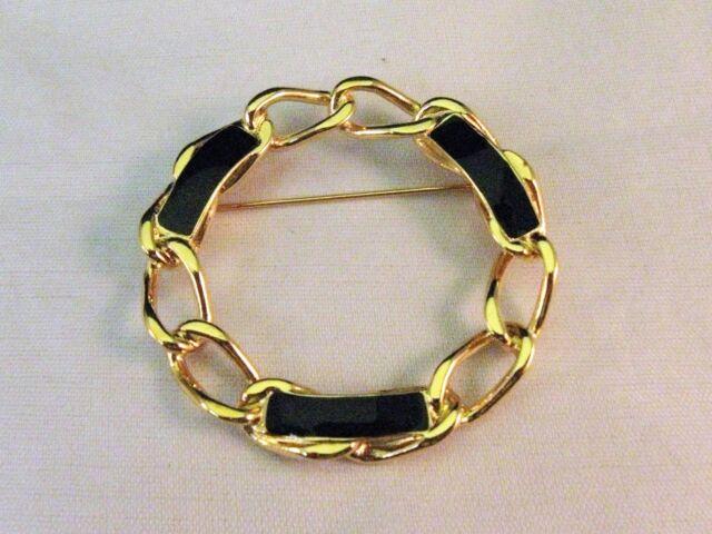 Monet Goldtone Circle Pin w Black Stones - Elegant - Very Good Condition