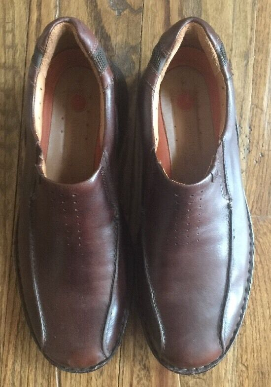 Clarks On UnstructuROT  Uomo Braun Leder Casual Dress Slip On Clarks Loafers Schuhes Sz 13M c26d19
