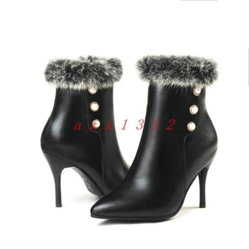 Women Pointy Toe High Stiletto Heel Zip Furry Rhinestone Ankle Boot Shoe Fashion