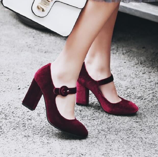 Vintage femmes Velvet Mary Janes Block Heel Pumps Casual chaussures Ankle Straps U209
