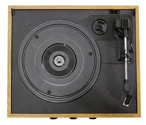 PYLE RETRO 3-SPEED 33//45//78 WOODEN CASE TURNTABLE RECORD PLAYER AM//FM STEREO AUX