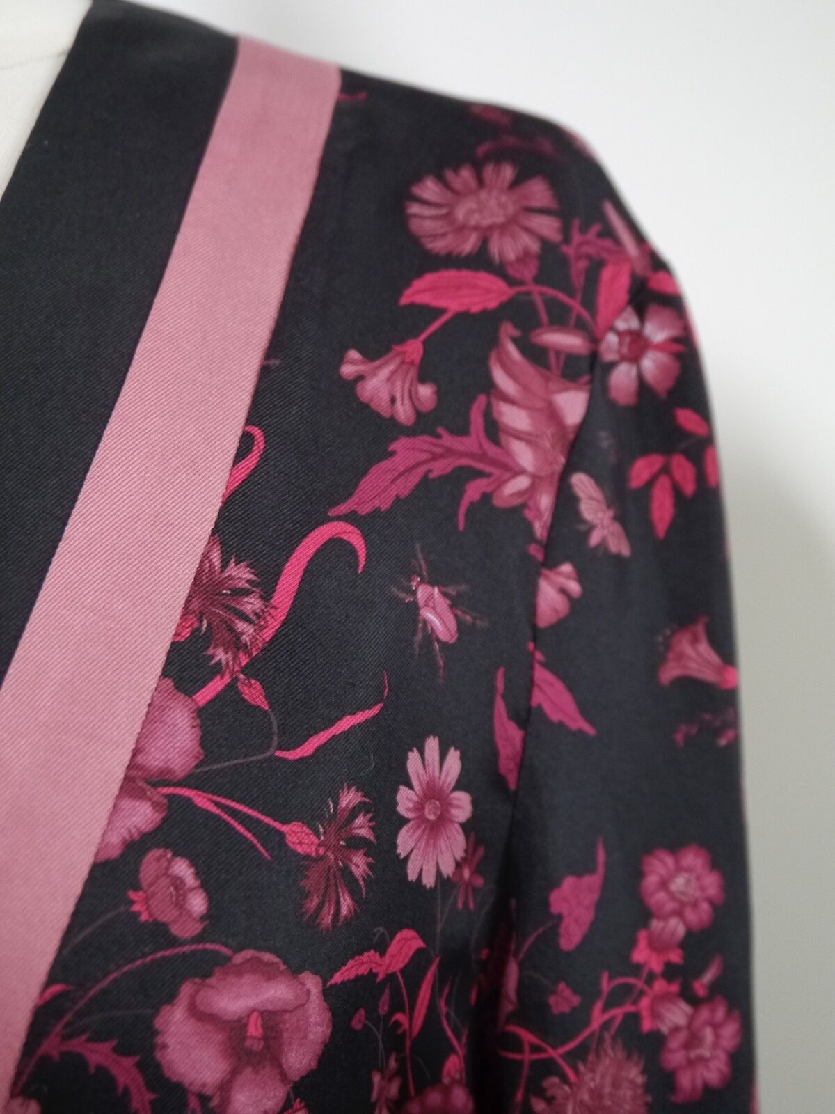 GUCCI black burgundy floral butterfly print silk … - image 2