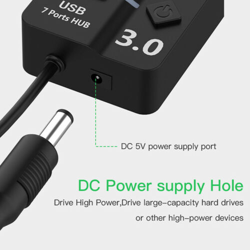 4//7 Port USB 3.0 Hub 5Gbps High Speed On//Off Switches AC Power Adapter For TS