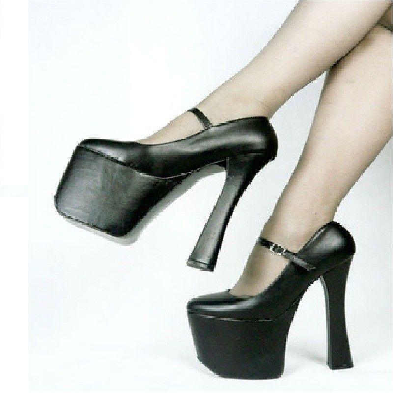 Wouomo Dance scarpe Platform Block Heel Heel Heel Ankle Strap 20CM High Heels Sandals Pump 27f247