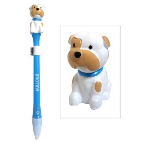 Bulldog Figurine Topper Pen Blue Ink