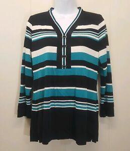 info for 614fa f606e Details zu Exklusiv Misook Ps Pullover Blau Schwarz Weiße Streifen  V-Ausschnitt Pullover