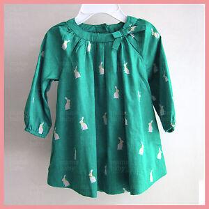 GAP Cute Baby Girl Green Bunny print dress w matching