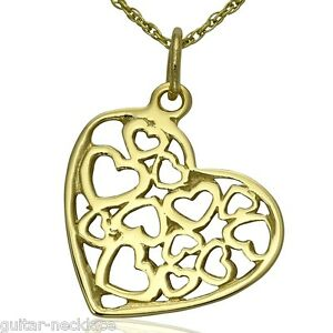 Solid 9ct gold filigree heart pendant charm necklace chain image is loading solid 9ct gold filigree heart pendant charm amp aloadofball Gallery