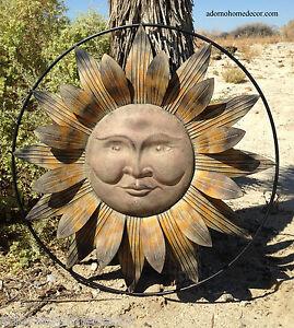Metal Sun Wall Decor Flower Rustic Garden Art Indoor Outdoor Patio Sculpture Ebay