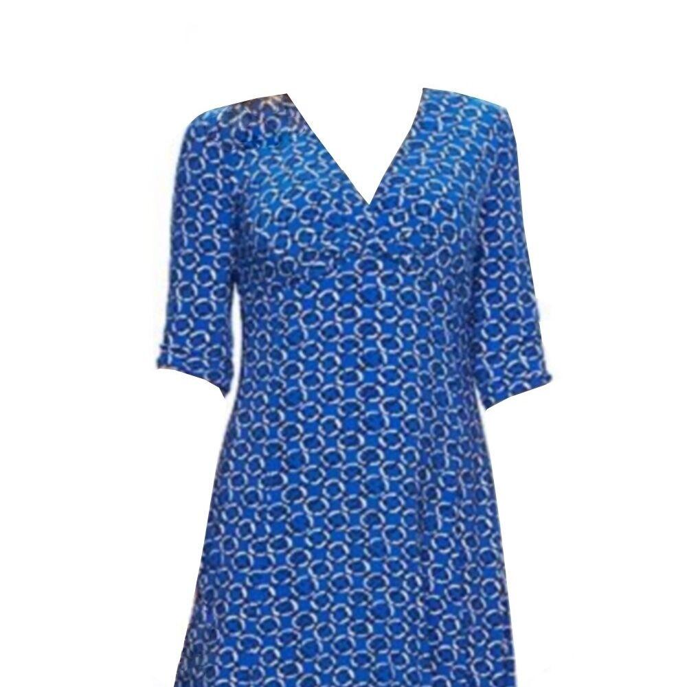 Chaps Geometric Blau Circle damen Empire Waist Dress 18W