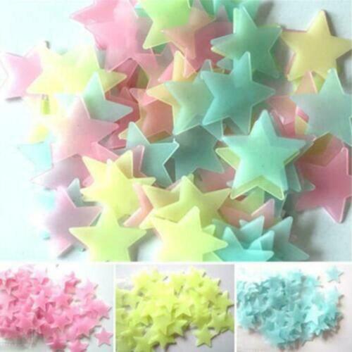 100 Stücke 3D Sterne Im Dunkeln leuchten Leuchtende Fluoreszierende Wandauf M4J4