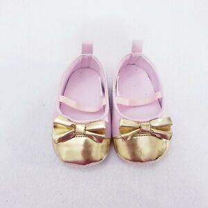 NWOT Brand New Laura Ashley Pink Gold Bow Ballerina Flat Shoes Infant Girls 0-3M