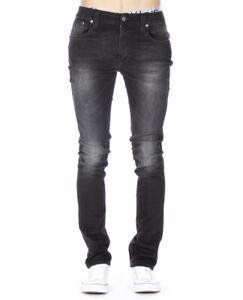 Nudie-Herren-Slim-Fit-Stretch-Jeans-Thin-Finn-Organic-Black-Slub-W27-W28
