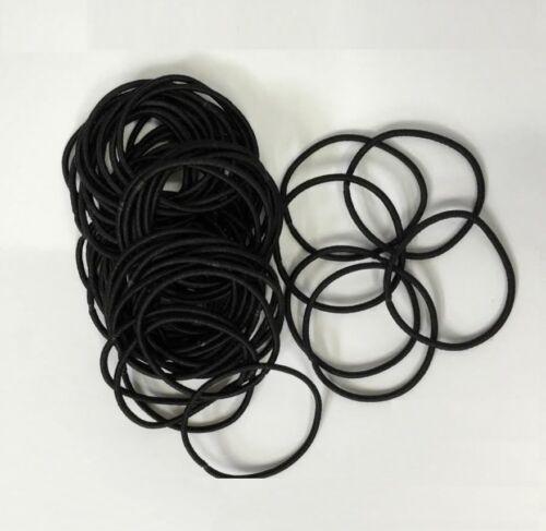 Snag Free Thin Elastic Hair Bands Black Bobbles Band School Ponytail Elastics UK
